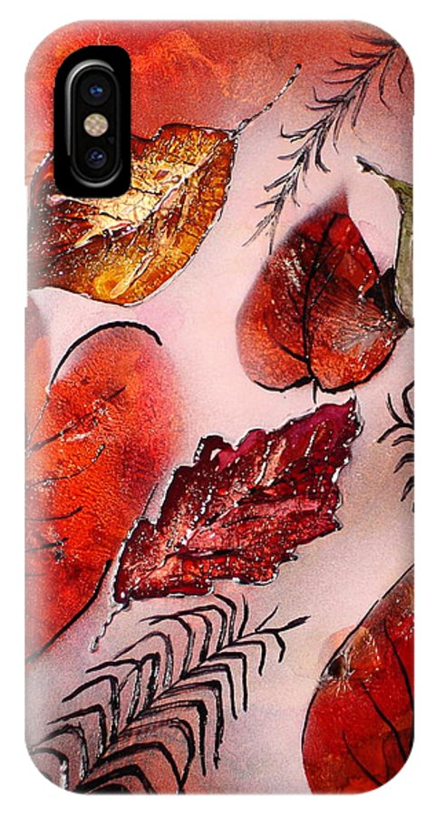 Leaf IPhone X Case featuring the painting Red Leaves by Susan Kubes
