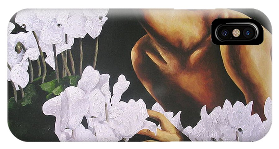 Nude IPhone X Case featuring the painting Red Lips White Flowers by Trisha Lambi