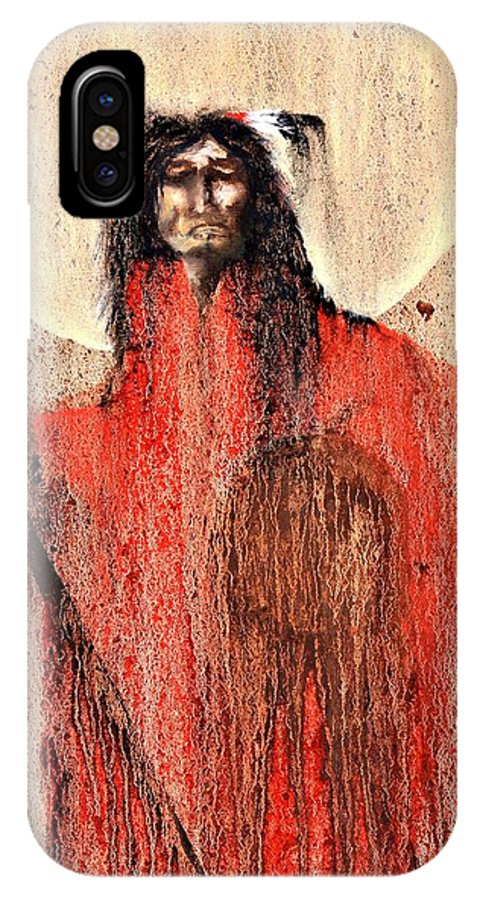 Inspirational IPhone X Case featuring the painting Red Man by Patrick Trotter