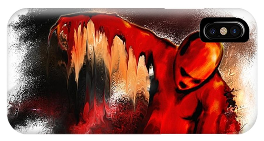 Red Man Passion Sureall Fire IPhone X Case featuring the digital art Red Man by Veronica Jackson