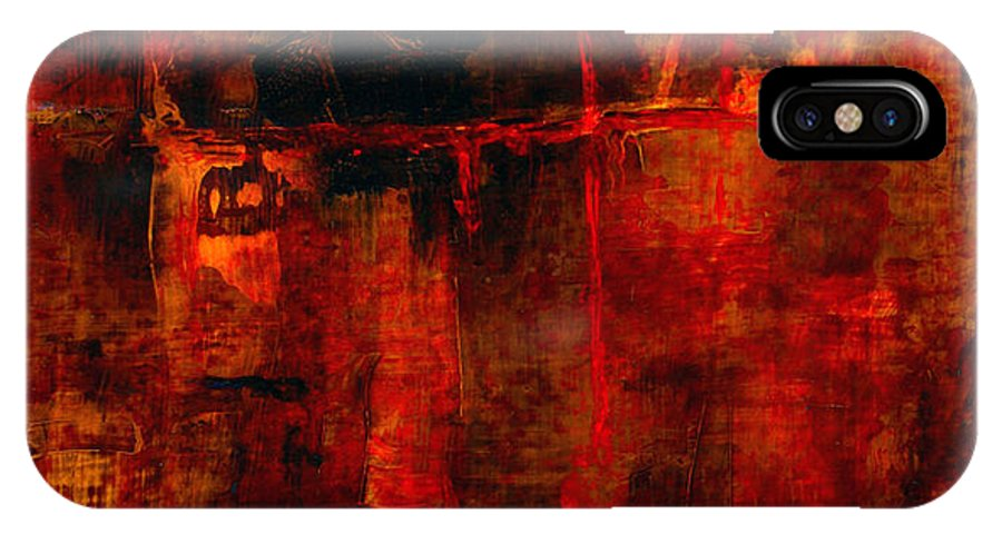 Abstract Painting IPhone Case featuring the painting Red Odyssey by Pat Saunders-White