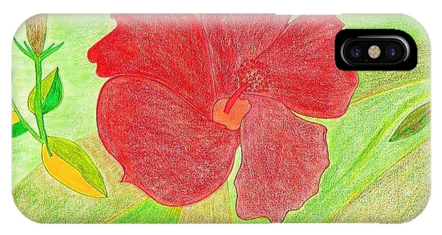 Red Flower IPhone X Case featuring the drawing Red Passion by Michael Puya