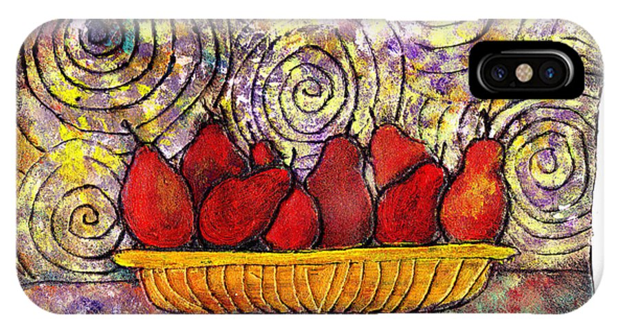 Spirals IPhone X Case featuring the painting Red Pears In A Bowl by Wayne Potrafka