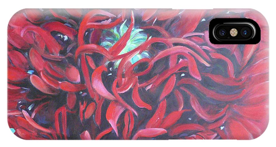 Red Flower IPhone X Case featuring the painting Red Peonie by Gloria Smith