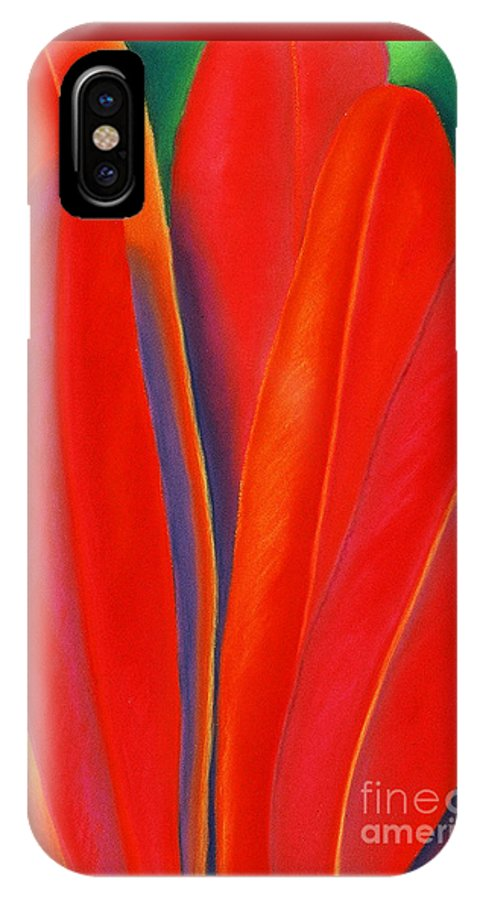 Red IPhone X Case featuring the painting Red Petals by Lucy Arnold
