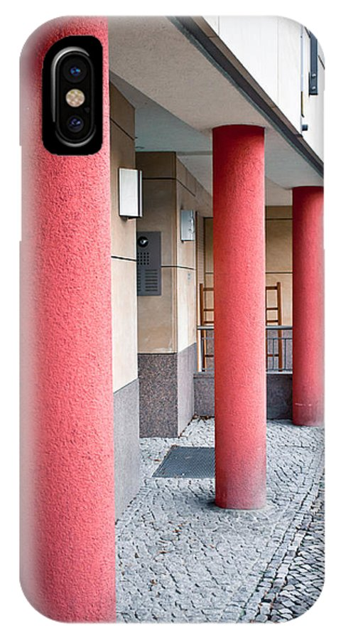 Abstract IPhone X / XS Case featuring the photograph Red Pillars by Tom Gowanlock