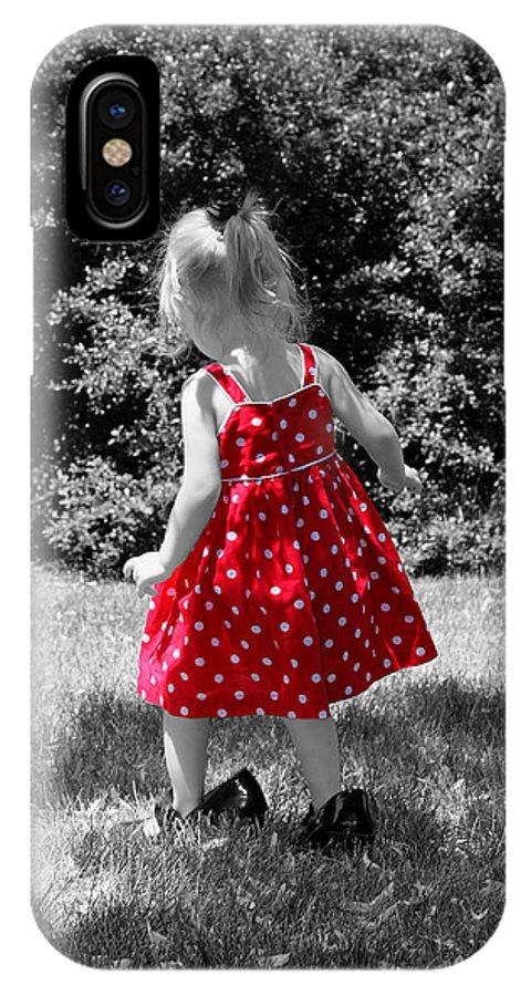 Red Dress IPhone X / XS Case featuring the photograph Red Polka Dot Dress And Mommy's Shoes by Tracie Kaska