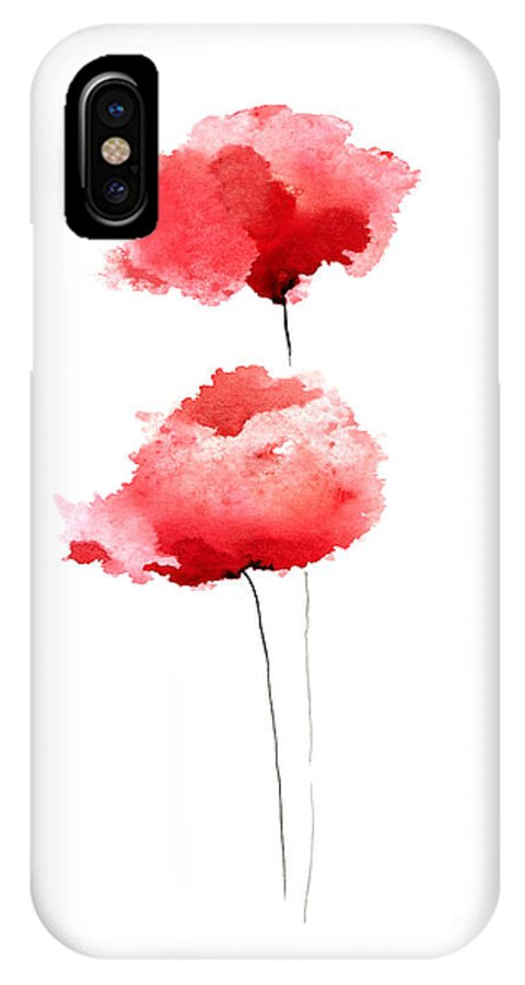 Poppy IPhone X Case featuring the painting Red Poppies Abstract Watercolor Art by Joanna Szmerdt
