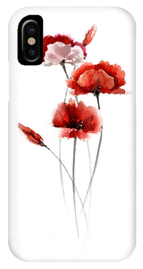 Poppies IPhone X Case featuring the painting Red Poppy Fine Art Print by Joanna Szmerdt