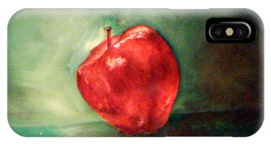 Apple IPhone X Case featuring the painting Red Red Apple by Simonne Mina
