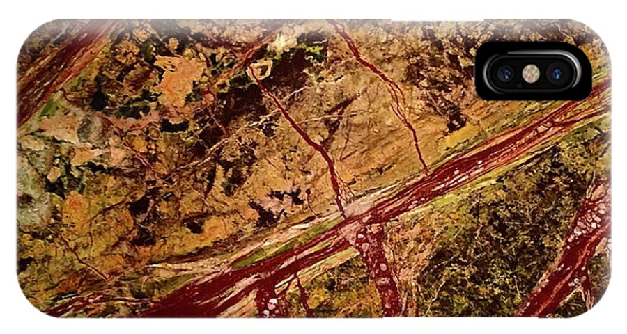 Abstract IPhone X Case featuring the photograph Red River by Denise Mazzocco