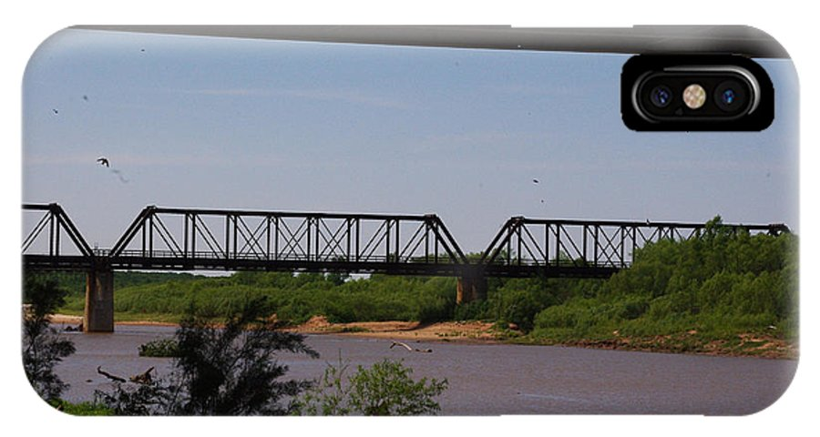 Red River IPhone X Case featuring the photograph Red River Truss Bridge by Robyn Stacey