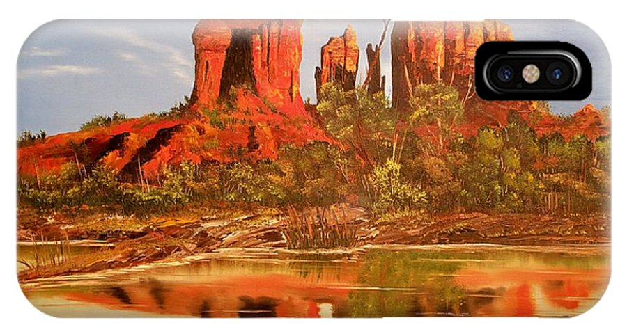 Rocks IPhone X Case featuring the painting Red Rock by Patrick Trotter