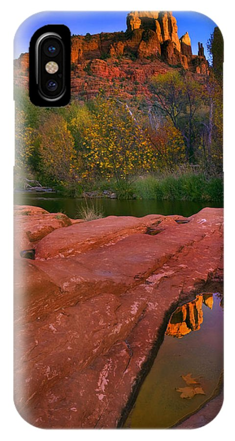 Reflection IPhone X Case featuring the photograph Red Rock Reflection by Mike Dawson