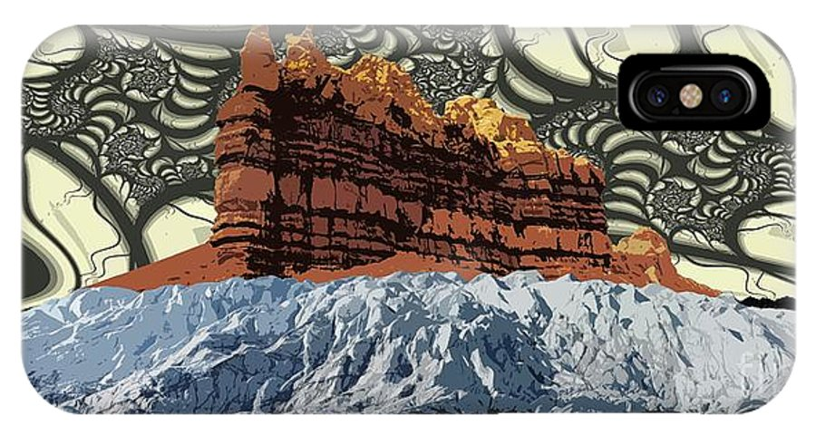 Glacier Art IPhone X Case featuring the digital art Red Rock White Ice by Ron Bissett