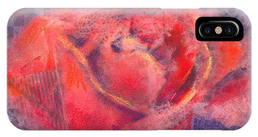 Rose IPhone X Case featuring the mixed media Red Rose by Arline Wagner