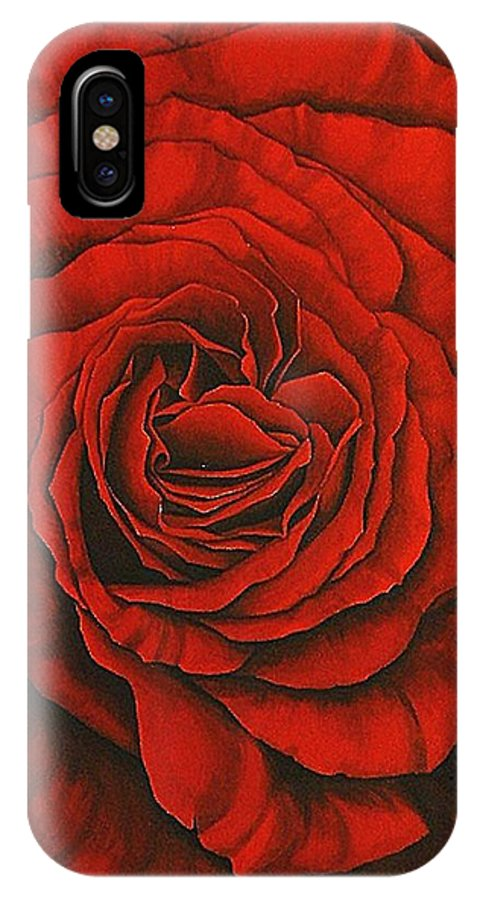 Red IPhone X Case featuring the painting Red Rose II by Rowena Finn