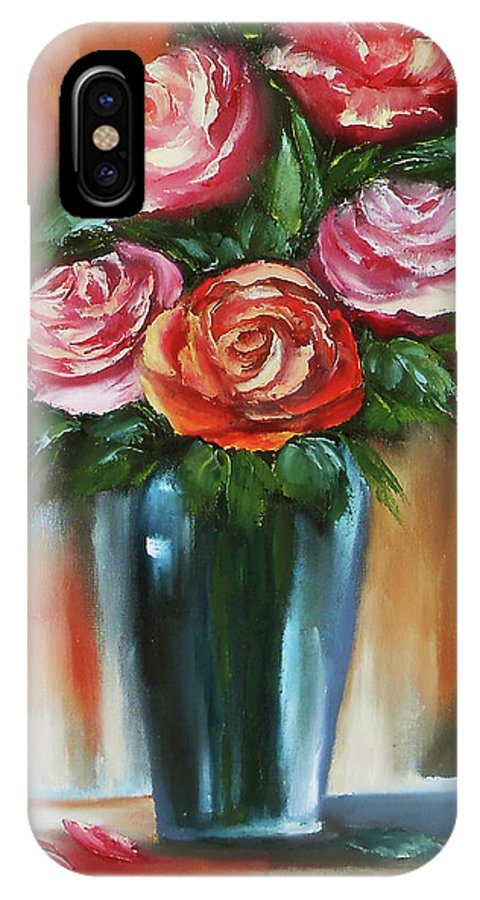 Rose Paintings On Canvas IPhone X Case featuring the painting Red Rose Painting Oil On Canvas & Red Rose Painting Oil On Canvas Rose Painting Flower Rose Flower ...