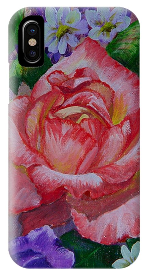 Rose IPhone X Case featuring the painting Red Rose by Quwatha Valentine