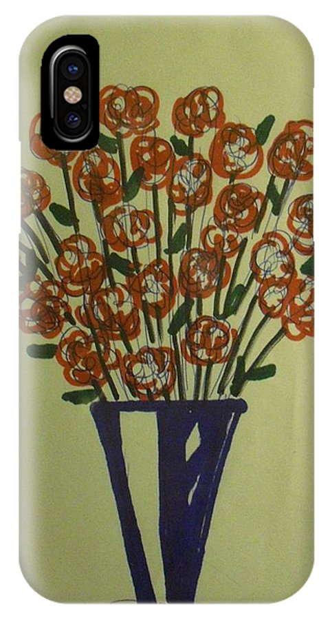 Roses Vase Flowers IPhone X Case featuring the drawing Red Roses by Troix Johnson
