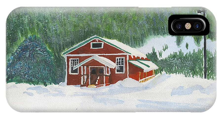 Schoolhouse IPhone X Case featuring the painting Red School House by Louise Magno