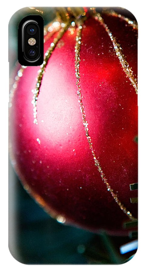 Red IPhone X Case featuring the photograph Red Shiny Ornament by Marilyn Hunt