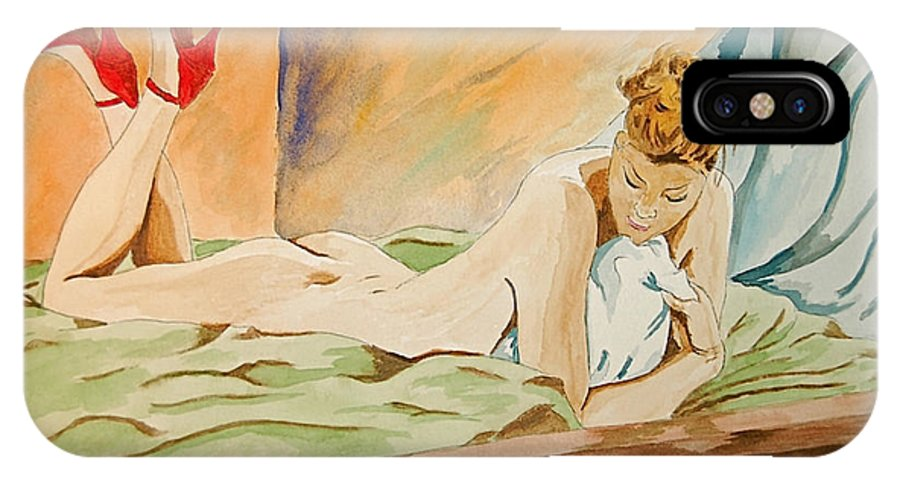 Nude IPhone Case featuring the painting Red Shoes by Herschel Fall