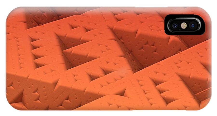 Mandelbulb IPhone X Case featuring the digital art Red Sierpinkski by Lyle Hatch