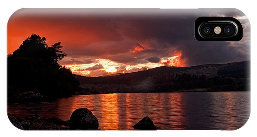 Scotland IPhone X Case featuring the photograph Red Skies Over Loch Rannoch by Bel Menpes