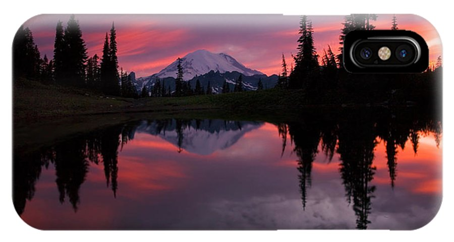 Rainier IPhone X Case featuring the photograph Red Sky At Night by Mike Dawson