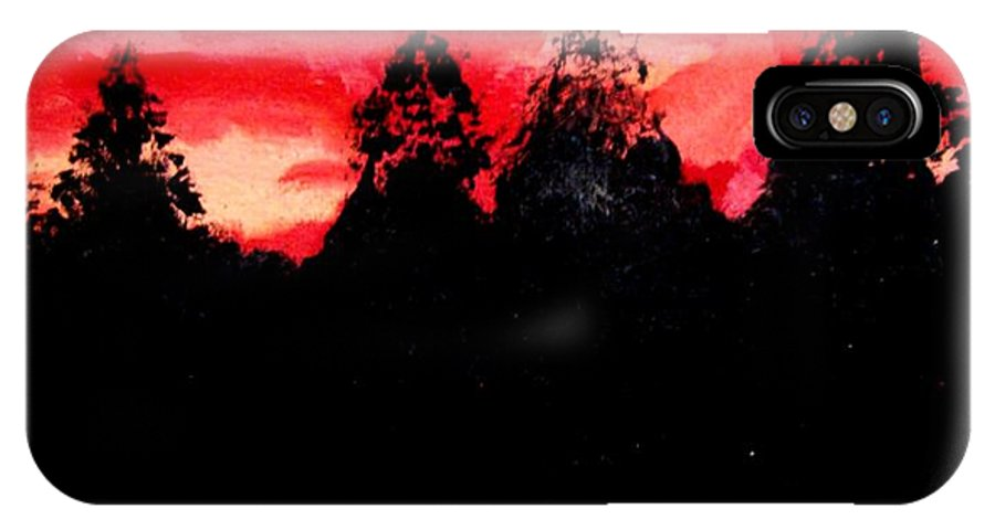 Pond IPhone X Case featuring the painting Red Sky by Michael Grubb