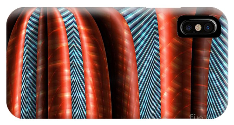 Structure IPhone X Case featuring the digital art Red Structure by Ron Bissett