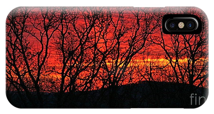 Sunrise IPhone X Case featuring the photograph Red Sunrise Over The Ozarks by Nadine Rippelmeyer