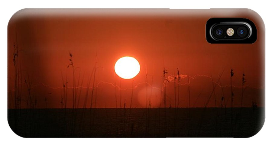 Sunset IPhone X Case featuring the photograph Red Sunset And Grasses by Nadine Rippelmeyer