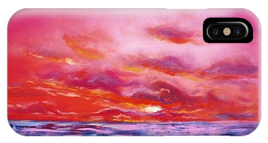 Red IPhone X Case featuring the painting Red Sunset by Gina De Gorna