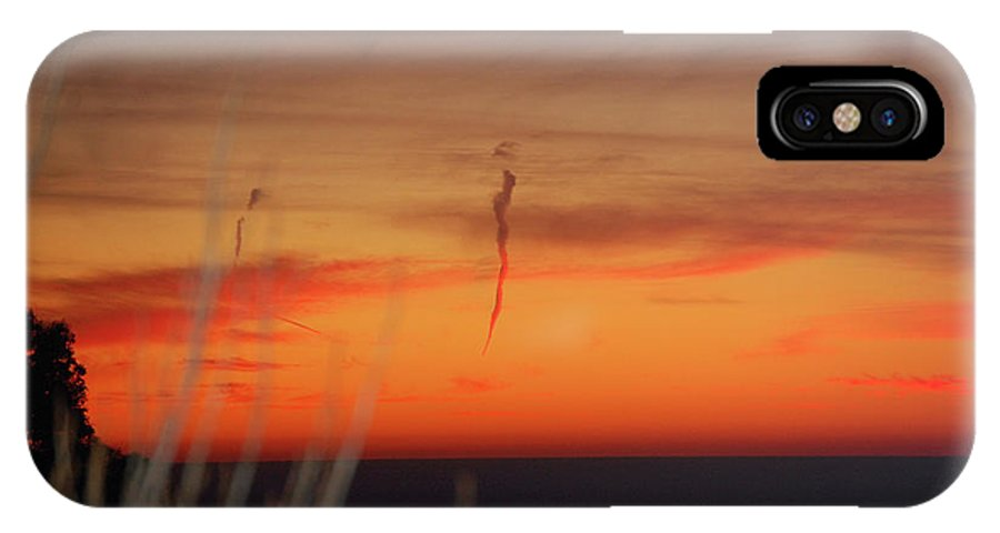 Sunset IPhone X Case featuring the photograph Red Sunset Off Pillar Point by Carolyn Donnell