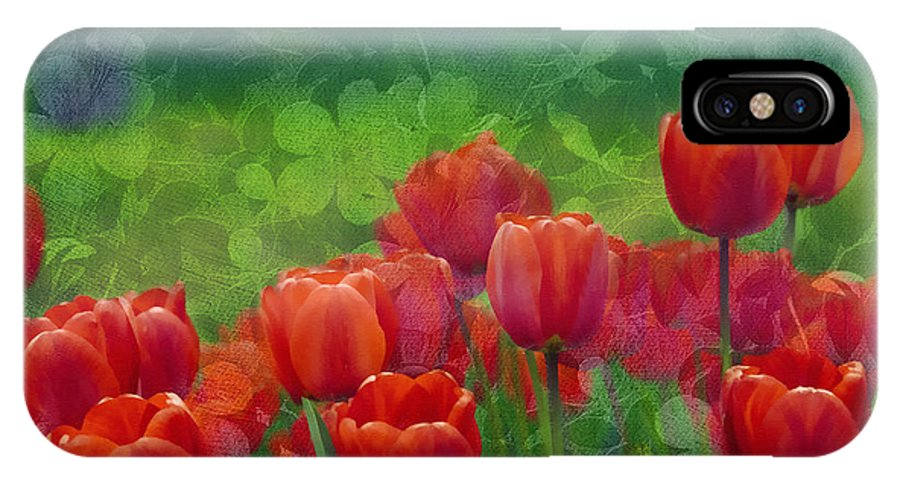 Tulips IPhone X Case featuring the mixed media Red Tulips by Georgiana Romanovna