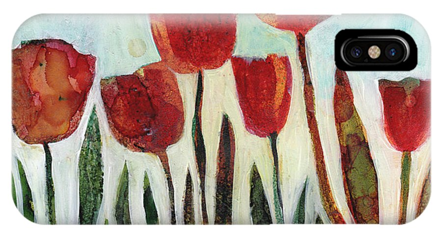 Red Tulips IPhone X Case featuring the painting Red Tulips by Julie Maas