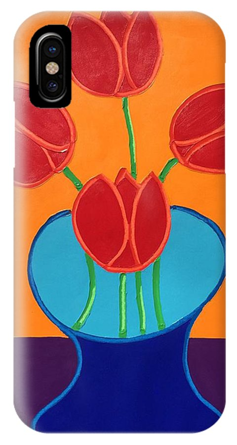 Flowers IPhone X Case featuring the painting Red Tulips by Matthew Brzostoski