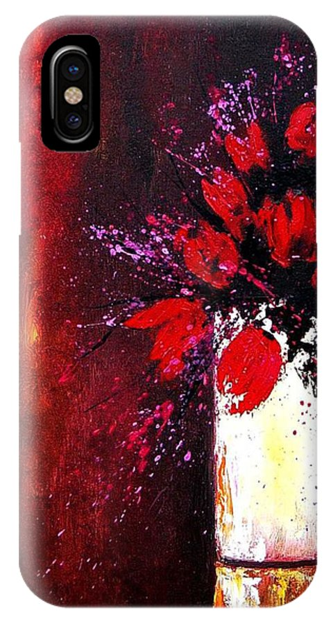 Flowers IPhone X Case featuring the painting Red Tulips by Pol Ledent