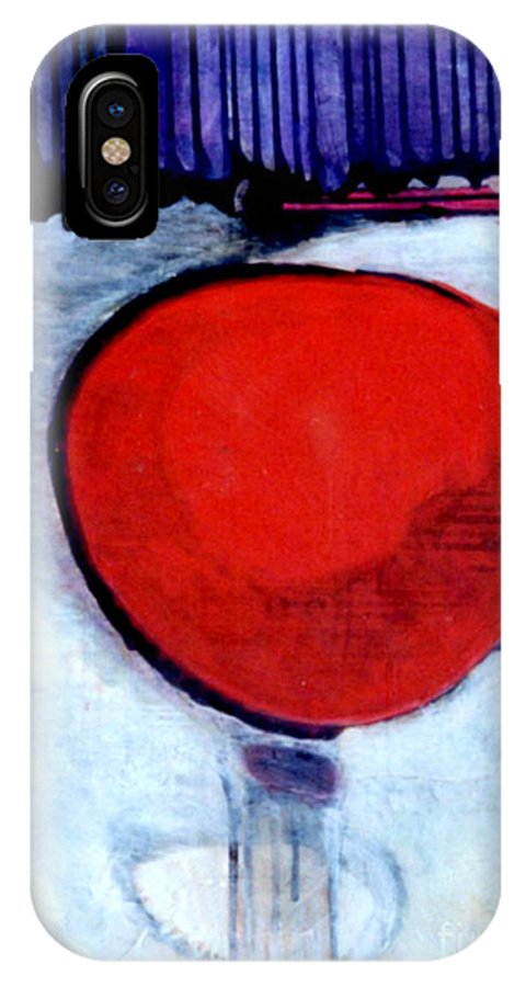 Red IPhone X Case featuring the painting Red Twin Jump Start by Marlene Burns