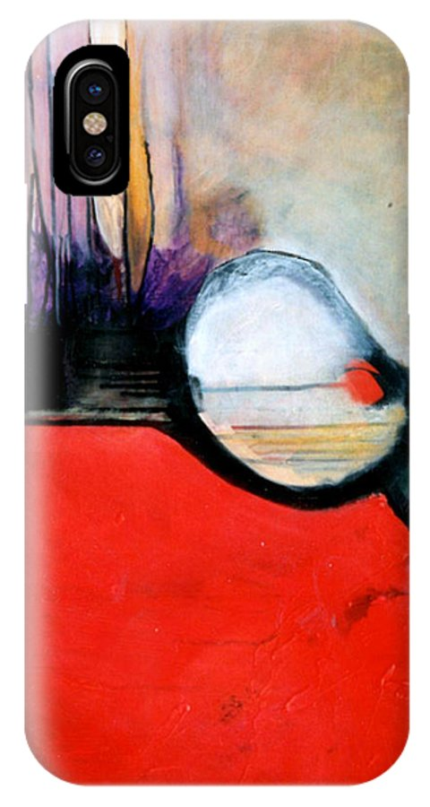 Abstract IPhone X Case featuring the painting Red Twin Leaps And Bounds by Marlene Burns