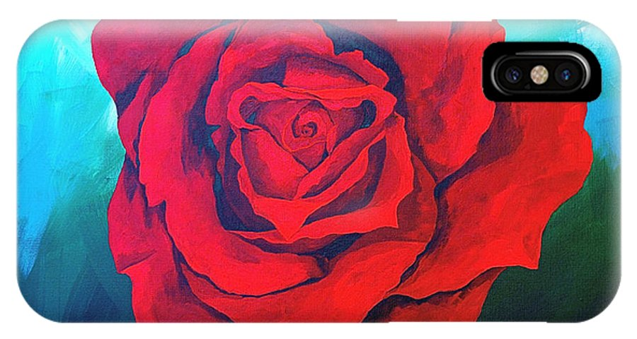 Red Rose Deep Red Rose 3d Ice Rose IPhone X Case featuring the painting Red Velvet by Herschel Fall