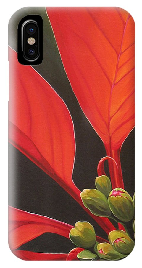 Poinsettia Closeup IPhone X Case featuring the painting Red Velvet by Hunter Jay