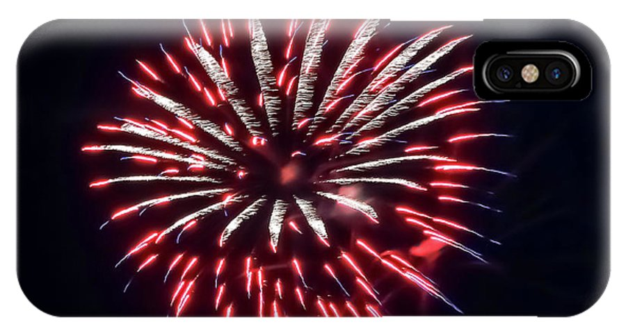 Red White And Blue Fireworks IPhone X Case featuring the photograph Red White And Blue Fireworks by Cynthia Woods