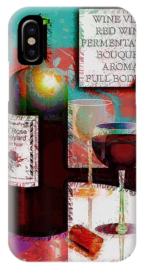 Wine IPhone X Case featuring the digital art Red Wine For Two by Arline Wagner