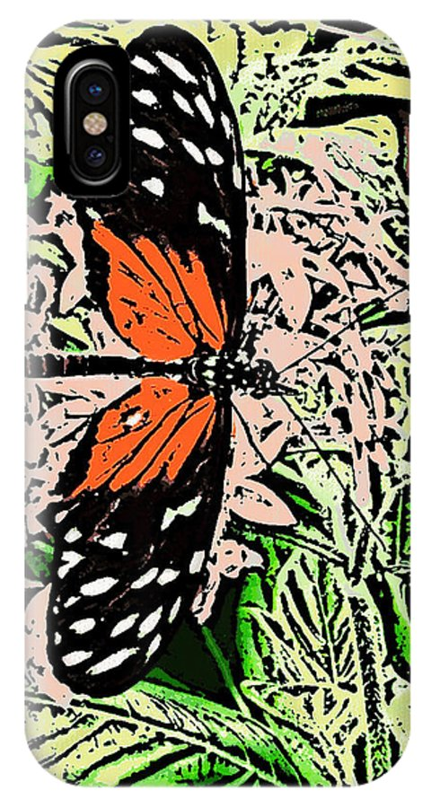 IPhone X Case featuring the digital art Red Winged Butterfly by Iris Posner