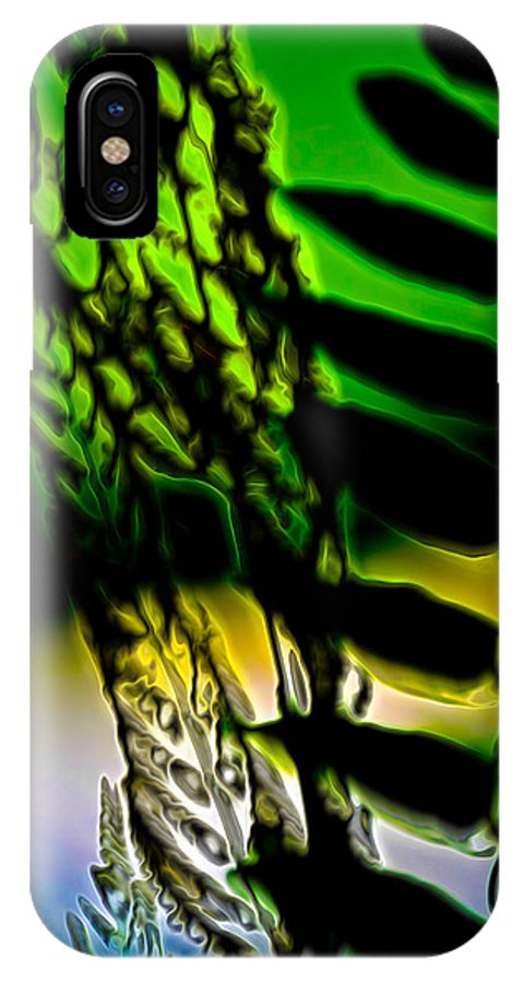 Pond Plants IPhone X Case featuring the digital art Reeds And Ferns by Lynellen Nielsen