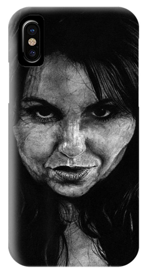 Portrait Girl Woman Sketch Drawing Charcoal Art Traditional Life Thought Smile Beautiful Expression IPhone X Case featuring the drawing Reel Romance by Priscilla Vogelbacher