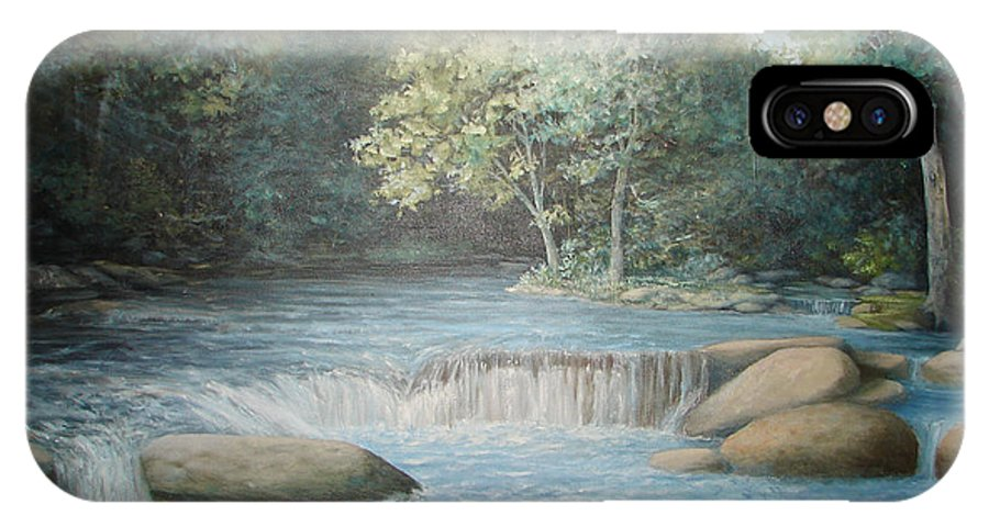 Running Water IPhone X Case featuring the painting Reflected Blue by Penny Neimiller